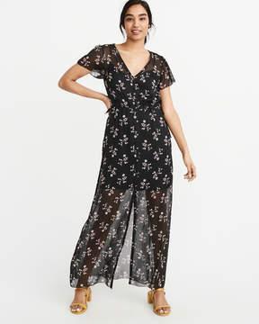 Abercrombie & Fitch Button Chiffon Maxi Dress