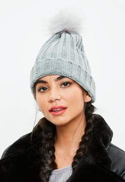 Missguided Grey Metallic Faux Fur Pom Pom Beanie Hat