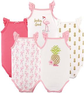 Hudson Baby Pink Pineapple Sleeveless Bodysuit Set - Infant