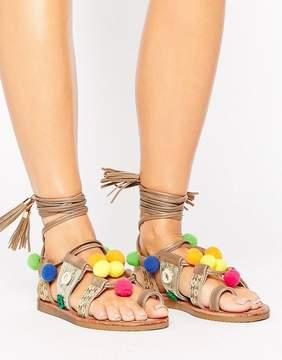 Glamorous Pom Pom Multi Tie Up Flat Sandals