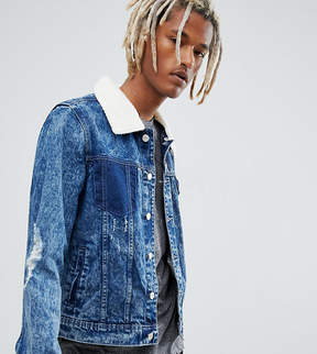 Co Brooklyn Supply Brooklyn Supply Bleach Borg Denim Jacket With Rips