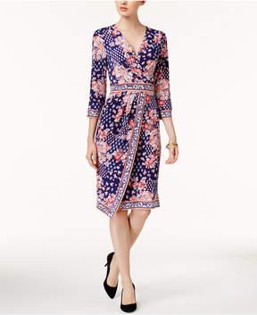 ECI Printed Faux-Wrap Dress