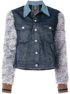 Aviu denim jacket with mohair sleeves