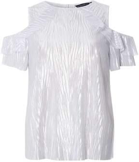 Dorothy Perkins Silver Cold Shoulder Plisse Top