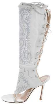 Manolo Blahnik Embroidered Lace-Up Sandals