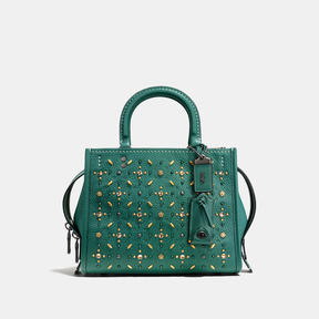 COACH ROGUE 25 IN NATURAL PEBBLE LEATHER WITH PRAIRIE RIVETS - BLACK COPPER/DARK TURQUOISE