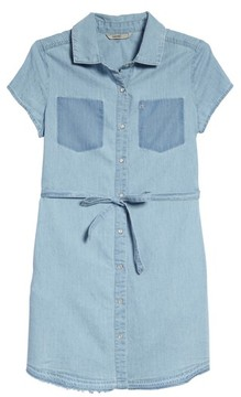 Calvin Klein Girl's Release Hem Chambray Shirtdress