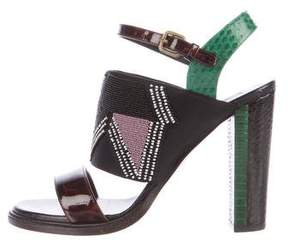 Dries Van Noten Python-Trimmed Embellished Sandals