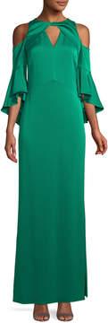 Shoshanna Varennes Cold-Shoulder Satin Gown, Jade