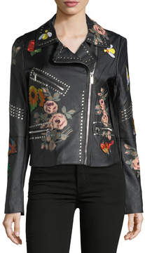 Bagatelle Floral-Print Studded Biker Jacket