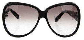 Bottega Veneta Intrecciato-Trimmed Oversize Sunglasses