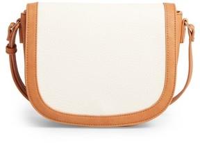 Sole Society Finnigan Faux Leather Crossbody Bag - Beige