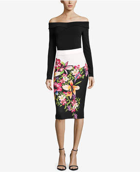 ECI Floral-Print Colorblocked Skirt