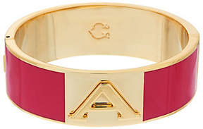 C. Wonder Enamel Initial Oval Hinged Bangle with Magnetic Clasp