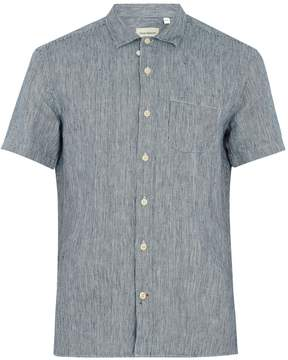 Oliver Spencer Patch-pocket pinstriped linen shirt