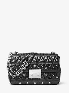 Michael Kors Sloan Grommeted Leather Shoulder Bag - BLACK - STYLE