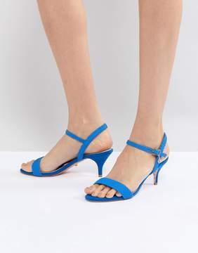 Dune Bright Blue Kitten Heel Two Part Sandal