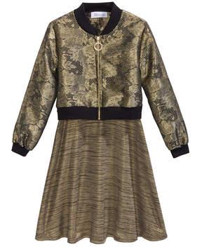 Bonnie Jean 2-Pc. Lace Bomber Jacket & Knit Dress, Big Girls