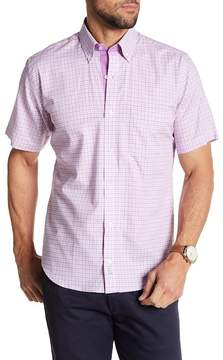 Tailorbyrd Short Sleeve Checkered Print Trim Fit Woven Shirt