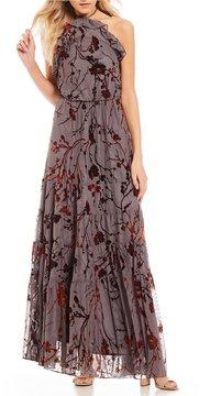 Chelsea & Violet Tiered Ruffle Halter Burnout Velvet Maxi Dress