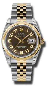 Rolex Datejust 36 Brown Dial Stainless Steel and 18K Yellow Gold Jubilee Bracelet Automatic Men's Watch