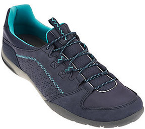 Clarks As Is Leather Bungee Lace-up Sneakers - Valiee Marble