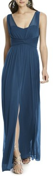 Alfred Sung Women's Illusion Sleeve Chiffon Column Gown