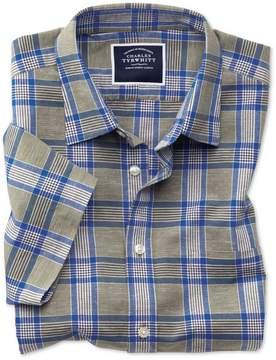 Charles Tyrwhitt Classic Fit Cotton Linen Short Sleeve Khaki Check Cotton Linen Mix Casual Shirt Single Cuff Size Small