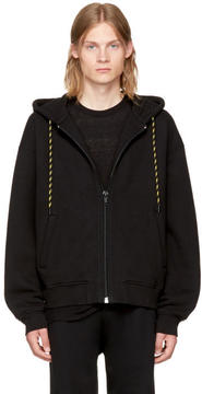 Alexander Wang Black Dense Fleece Zip-Up Hoodie