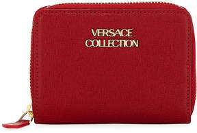Versace Saffiano Leather Small Wallet, Red