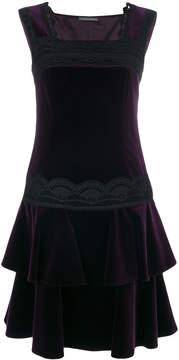 Alberta Ferretti lace trim and frill dress