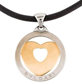 Bvlgari Two-Tone Tondo Heart Pendant Necklace