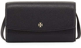 Tory Burch Robinson Pebbled Leather Wallet on Crossbody Strap