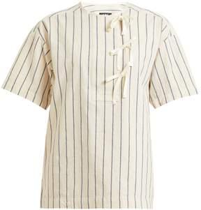 A.P.C. Putzie striped tie-placket cotton top