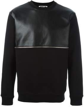 McQ faux leather panel sweatshirt