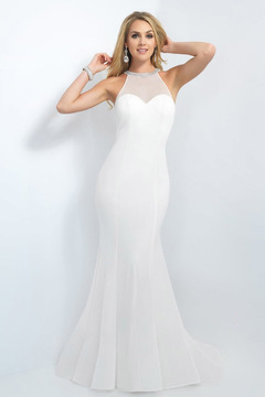 Blush Lingerie Beaded High Neck Jersey Trumpet Gown 11119