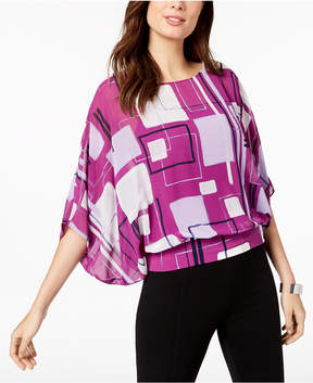 Alfani Printed Batwing-Sleeve Top, Created for Macy's