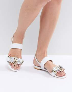 Dune Two Part Flat Leather Sandal in White with Flower Embellishment