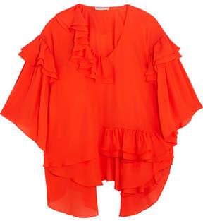 Emilio Pucci Ruffled Silk-chiffon Blouse - Red