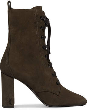 Saint Laurent Loulou Lace-up Suede Ankle Boots - Army green