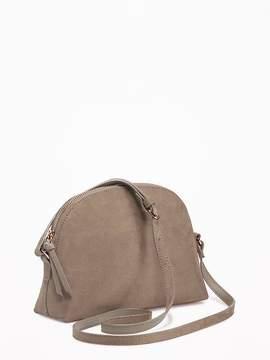 Sueded Half-Moon Crossbody Bag for Women