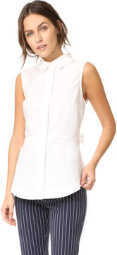 Derek Lam 10 Crosby Sleeveless Shirt with Lace Up Back