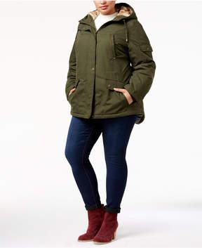 Celebrity Pink Trendy Plus Size Faux-Fur-Trim Hooded Parka