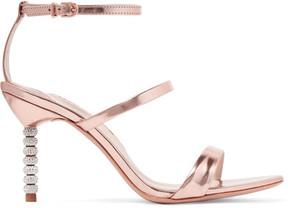 Sophia Webster Rosalind Crystal-embellished Metallic Leather Sandals - Pink