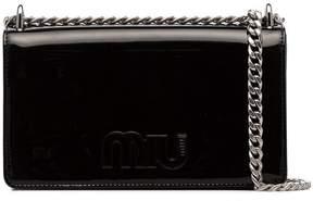 Miu Miu Black Logo Patent Leather Crossbody Bag