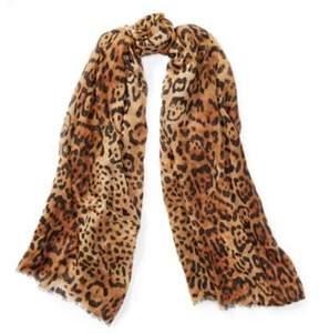 Ralph Lauren Leopard Wool-Cashmere Scarf Brown One Size