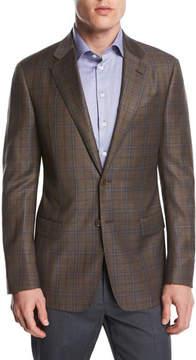 Giorgio Armani Plaid Wool Two-Button Sport Coat, Light Rust Brown