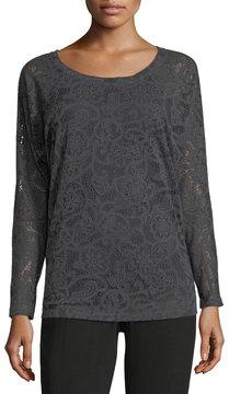 Allen Allen Long-Sleeve Lace Top