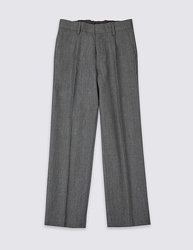 Marks and Spencer Boys' Wool Blend Trousers with SupercreaseTM