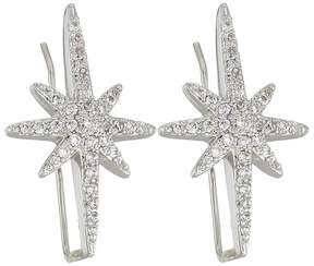 Betsey Johnson Blue by Silver Tone Earrings Climbers with Pave Crystal Accented Starburst Earring